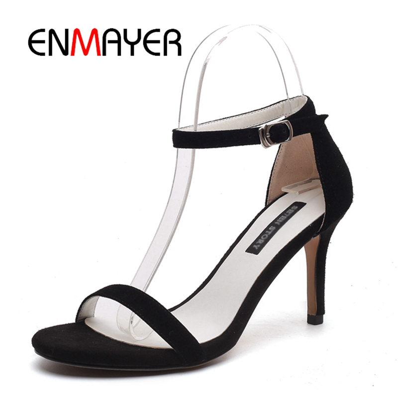 ENMAYER Women High heels Sandals Big Size 34-40 Summer Causal Shoes Women Footwear Kid Suede Open toe Thin heels Buckle CR438