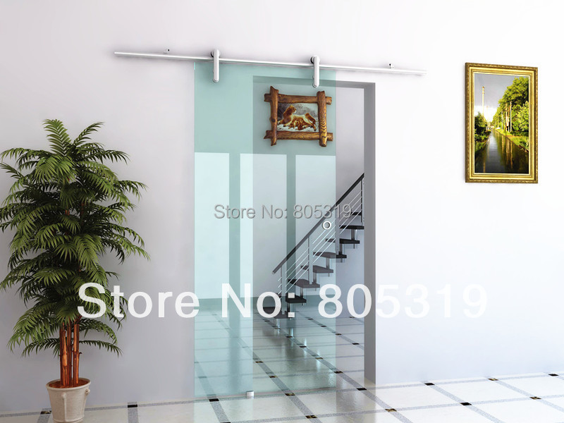 DIYHD Glass Sliding Barn Door Hardware Aluminum Sliding Barn Glass Door Sliding Track Set
