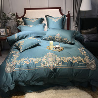 Red Blue Egyptian cotton Silk Embroidered Luxury Bedding Sets 4Pcs Queen King Size Bed set Bed Spread Duvet Cover Pillowcases
