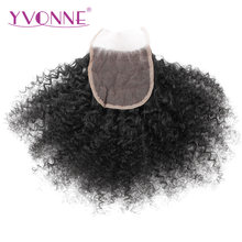 YVONNE Afro Kinky Curly Brazilian Virgin Hair Lace Closure 4x4 Free Part Human Hair Closure Natural Color Free Shipping(China)