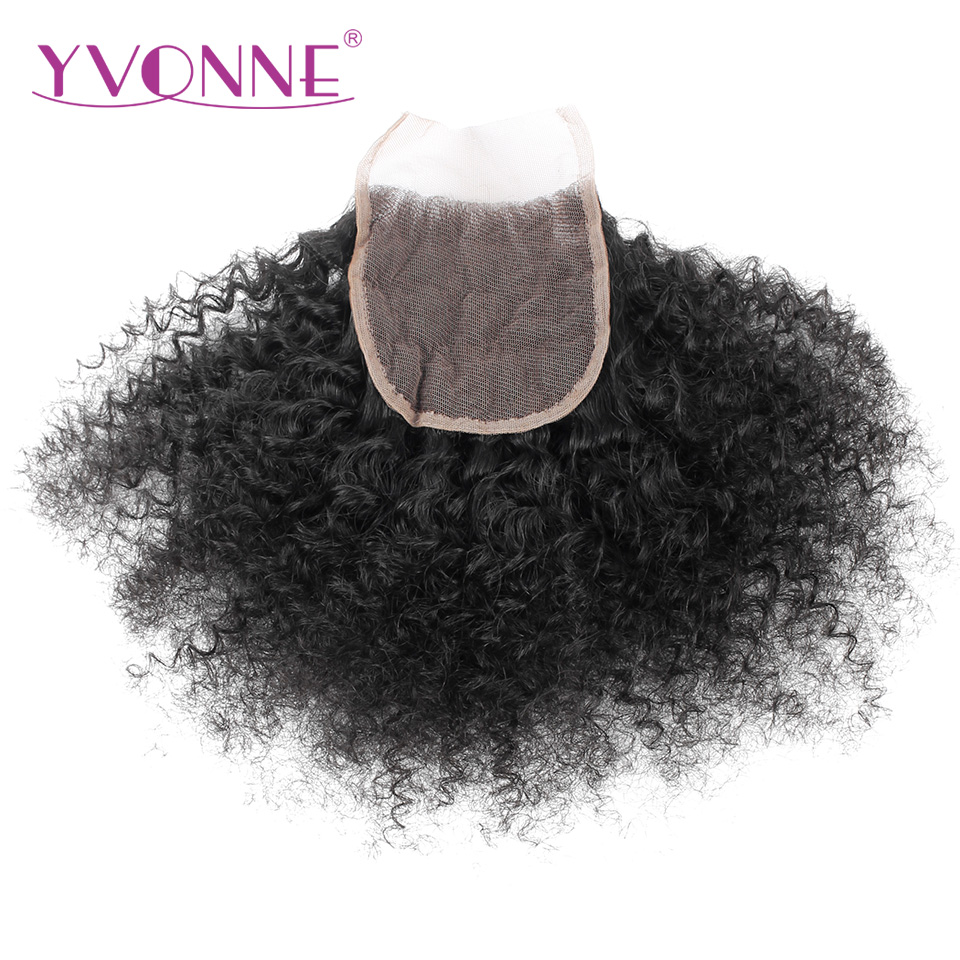 YVONNE Afro Curly Brazilian Virgin Hair Lace Closure 4x4 Free Part Human Hair Closure Natural Color Free Shipping