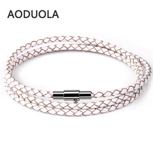 60cm Cheap Wholesale Fashion Men Leather Bracelet Brand New Trendy Bracelets with Magnet Clasp For women and men jewelry gift trendy beads layered magnet clasp flower print bracelet for women