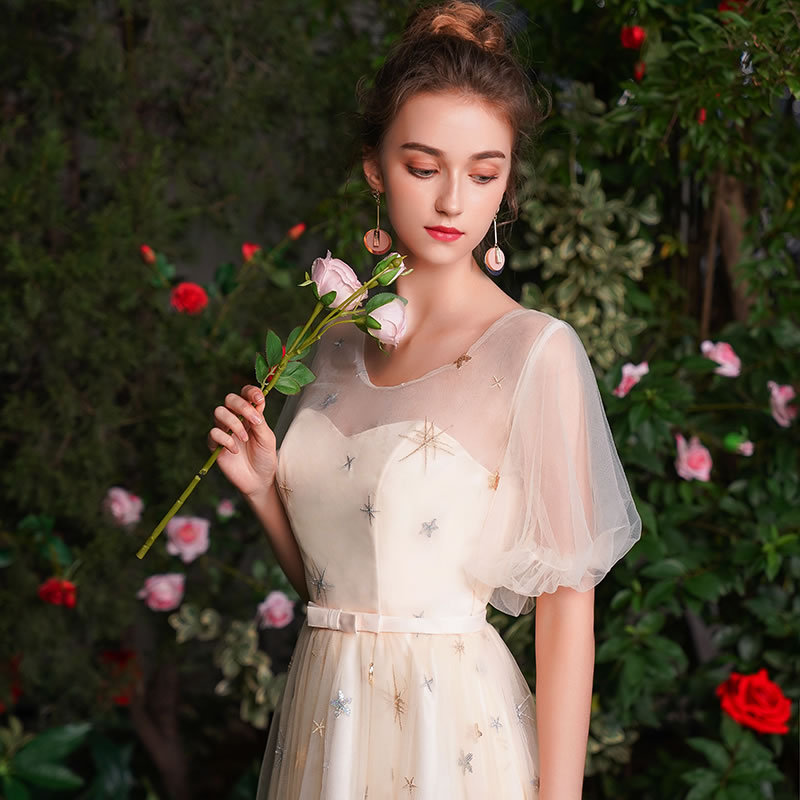 Romantic Wedding Party Girls and Sisters Long   Bridesmaid     Dresses   2019 Sleeveless Chiffon Wedding Party   Dress   Elegant Prom Gowns