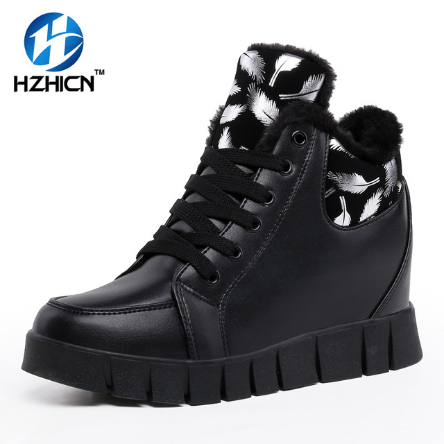 HZHICN Zapatos de Mujer de Invierno Botas Casuales de Alta Calidad Con la Piel Mantener Caliente Zapatos De Moda De Estilo
