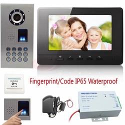 Video intercom with outdoor unit fingerprint recognition password unlock 7inch video door intercom ccd camera ip65.jpg 250x250