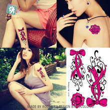 Lovely Waterproof Temporary Tattoos For Women Girl Red Rose Bowknot Design Large Arm Tattoo Sticker Gift SC2930