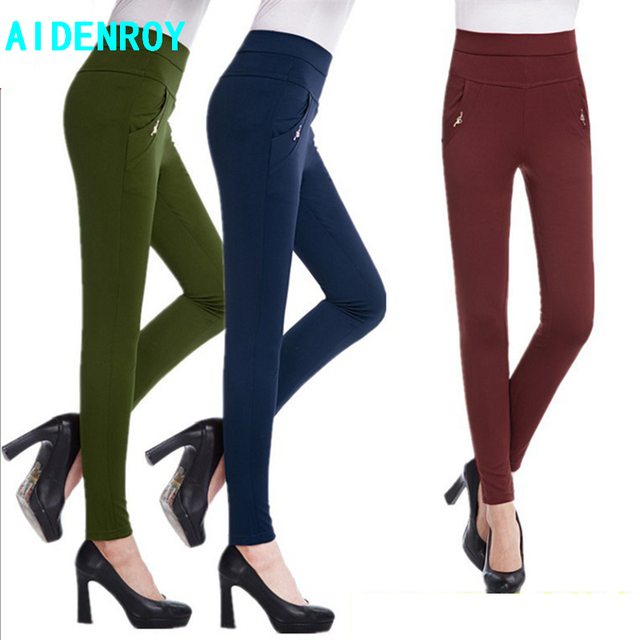 AidenRoy Autumn Summer Ladies Plus Size High Stretch Pencil Pants Candy Color Female Straight Pants Trousers Slim was thin