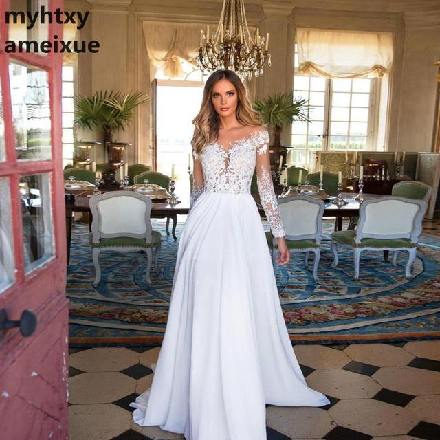 Cheap Lace Long Sleeves Wedding Dress Beach Bridal Gown Chiffon Lace Appliques White/lvory Romantic Buttons Turkey