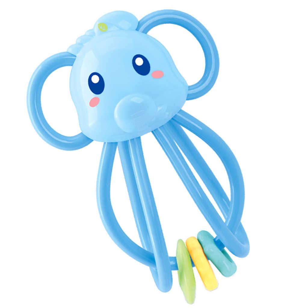 Baby Teether แหวน Handbell Rattle Montessori Teething และจับพัฒนาการของเล่นสำหรับทารก - ช้าง