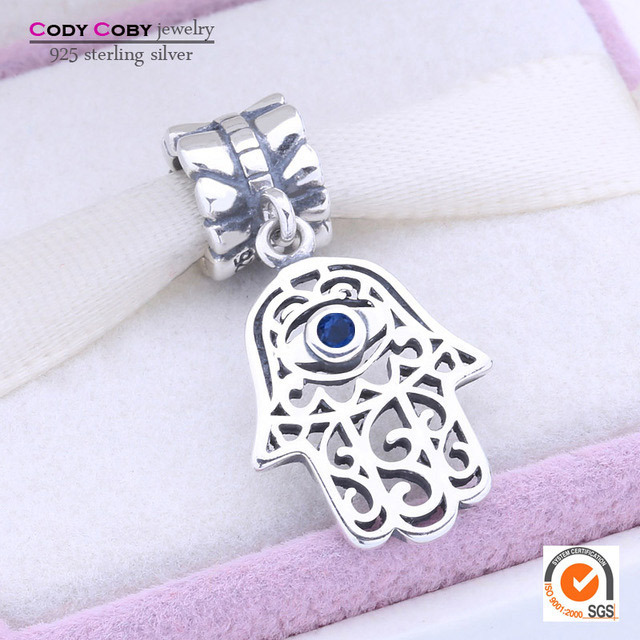 Hamsa Hand Original Dangle Charms Fit Pandora Bracelet 925 Sterling Silver Evil Eye Beads With Blue CZ Stone Women Jewelry Gifts