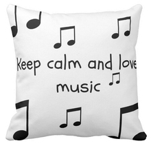 Keep Calm and Love Music Cushion Cover