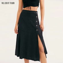 2019 Summer Sexy Split Women's Skirt Fashion Solid Button Yellow White Black High waist A-Line Midi Skirts Jupe Femme Saia