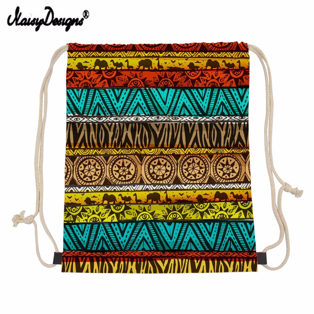 Small Drawstring Bag Women African Style Backpack Draw String Bags Kids Girls linen Drawstring Eco Bag