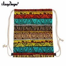 Small Drawstring Bag Women African Style Backpack Draw String Bags Kids Girls linen Drawstring Eco Bag Custom Drop Shipping