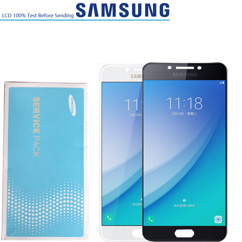 6 0 ORIGINAL SUPER AMOLED For SAMSUNG GALAXY C9 Pro LCD C9000 Touch Screen Digitizer Assembly