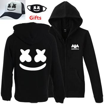 8654ea53 Cap%Mask as Gifts S to 3XL plus size DJ Marshmello men women hoodies hip hop  Rapper Bboy Popper dancer zipper jacket tracksuits