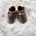 Gold Buckle T-bar baby moccasin