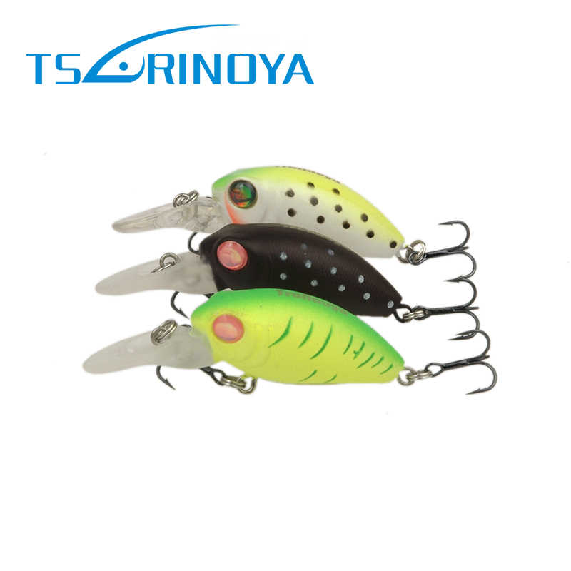Tsurinoya 1pc Fishing Lure Mini Crank Baits Wobbler 32mm 2.7g 3D Fish Eyes Artificial Lure Bait with Treble Hooks Fishing Tackle