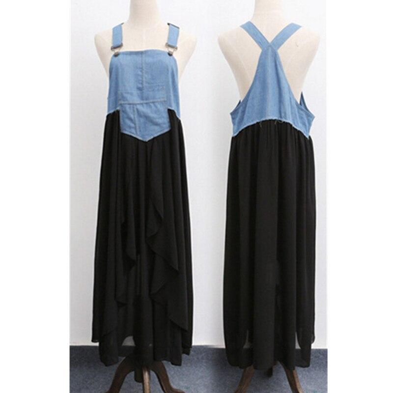 Robe avec poche d'été sans manches bretelles avant décontracté longue robe de grande taille