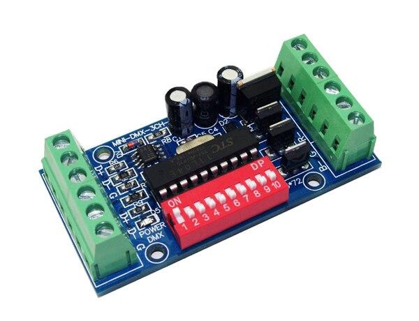MINI 3 csatornás DMX512 RGB vezérlő egyszerű 3CH DMX512 dekóder - Világítási kiegészítők