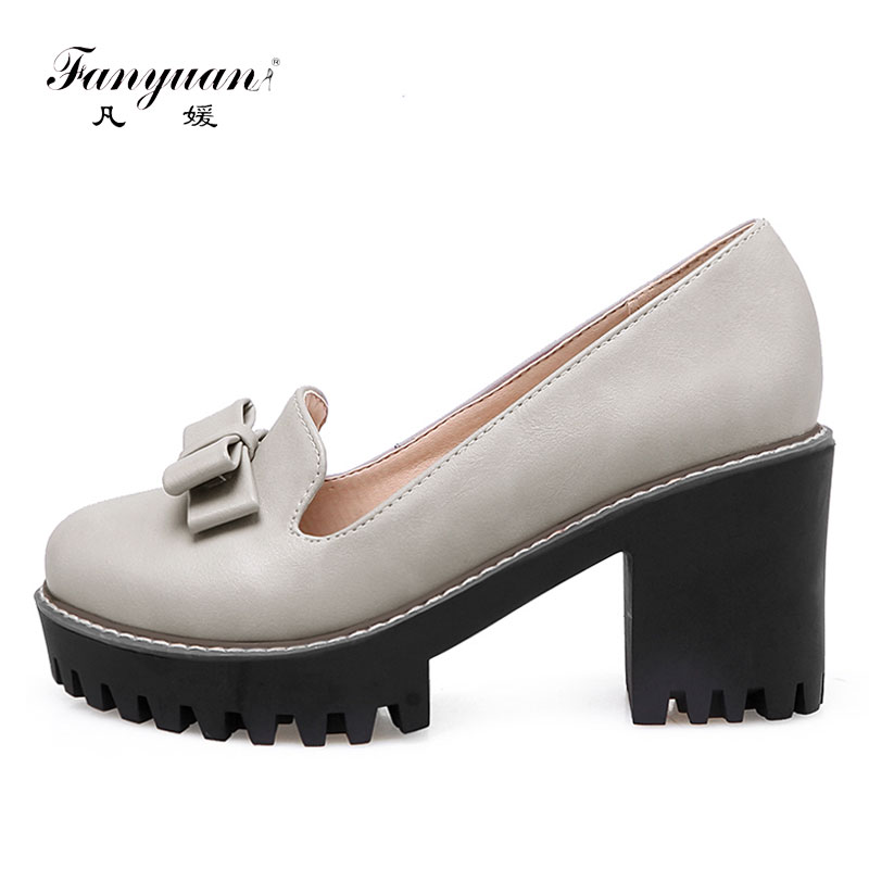 Fanyuan Plus Size Slip On Casual Shoes Women Pumps Thick High Heels Single  Shoes 2017 Spring Ladies Sweet Rubber Platform pumps fe76b06c3444