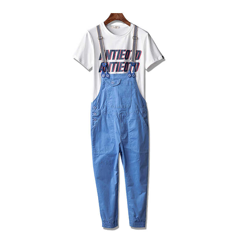 Men Casual Straight Cotton Pocket Overalls Mens Candy color Denim Jumpsuits Male Ankle Length Harem Suspenders pants A53101