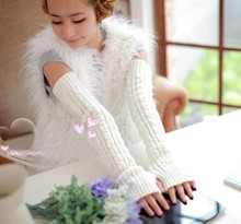Twist long arm set knitted wool half finger long gloves warm and thickened acrylic sleeve