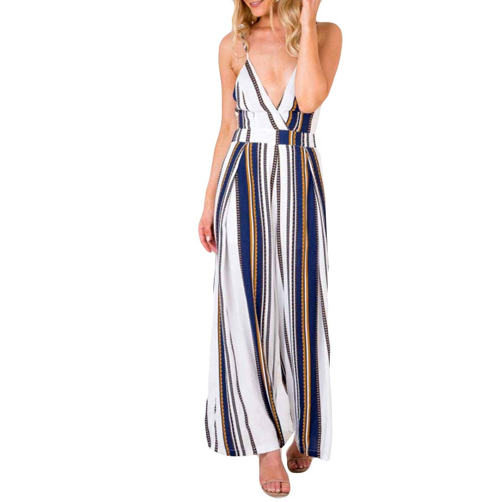 762d856b40b Rompers womens jumpsuit summer womens print strappy holiday long  playsuitstrouser high waist sexy women s suit