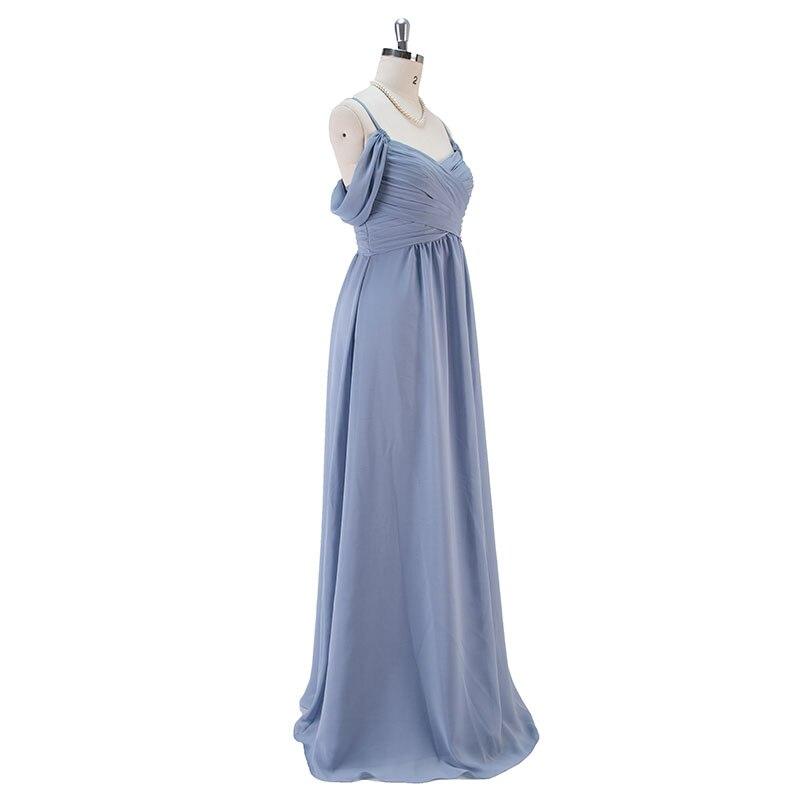 Steel Blue Long Chiffon Bridesmaid Dresses Wedding Party Dress 3