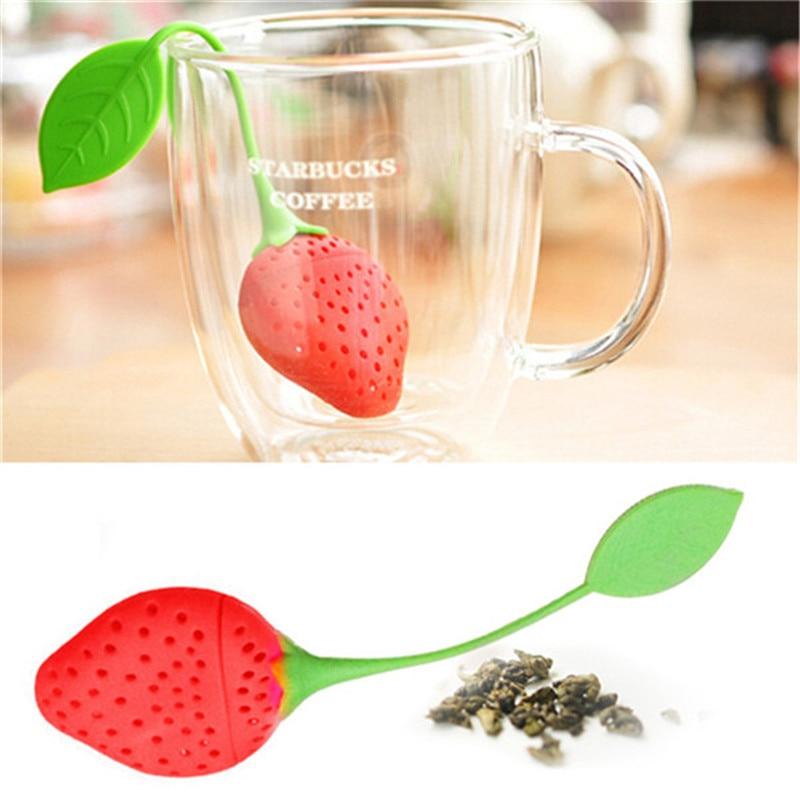 Colador de té de fresa bonito, bolsas de té, filtro Infusor de té de hoja suelta de silicona, accesorios divertidos de té de dibujos animados 301-0321
