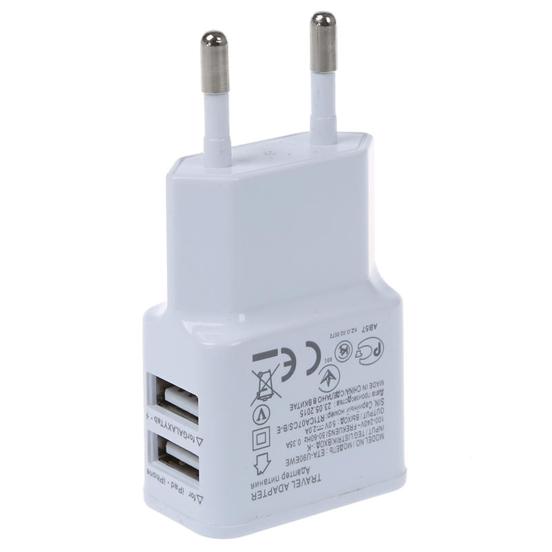 A Dual Port Micro USB Charger EU Plug For Galaxy S3 S4 Note 2 Siii-3-White