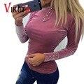 Vikuta Mujer blusas primavera de manga larga de Terciopelo Botón moletom feminino mujer sexy tops streetwear sudadera Pullovers VC4997