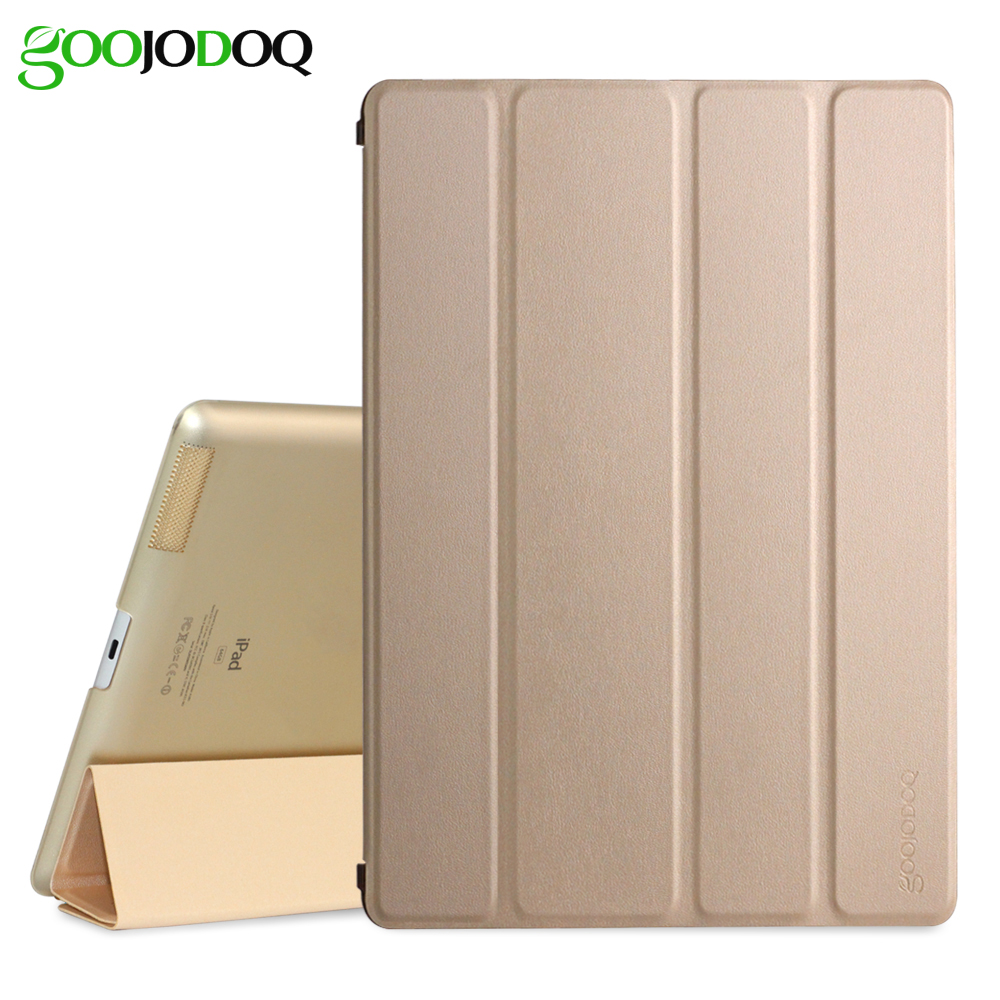 GOOJODOQ For iPad 2 3 4 Case, PU Leather with Translucent PC Hard Back Smart Cover for iPad 4 Case Trifold Stand Auto Wake/Sleep asling pc cover back case for ipad 2 3 4