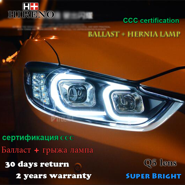 Hireno Headlamp for 2013-2015 Mazda 6 Mazda6 atenza Headlight Assembly LED DRL Angel Lens Double Beam HID Xenon 2pcs 9pc x free shipping xenon white for mazda 6 for mazda6 atenza wagon led interior light kit package 2013