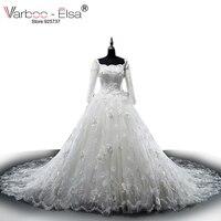 VARBOO_ELSA Elegant Trắng Ren Luxury Beading Wedding Dress 2017 Tòa Train Wedding Gown Thuyền Cổ Dài Tay Áo Bridal Gown Bóng