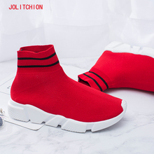 Fashion Sneakers Woman Platform 2018 Soft Heel Woman Casual Shoes High Top Knitted Woman Leisure Ankle Sock Fabric Mesh Shoes
