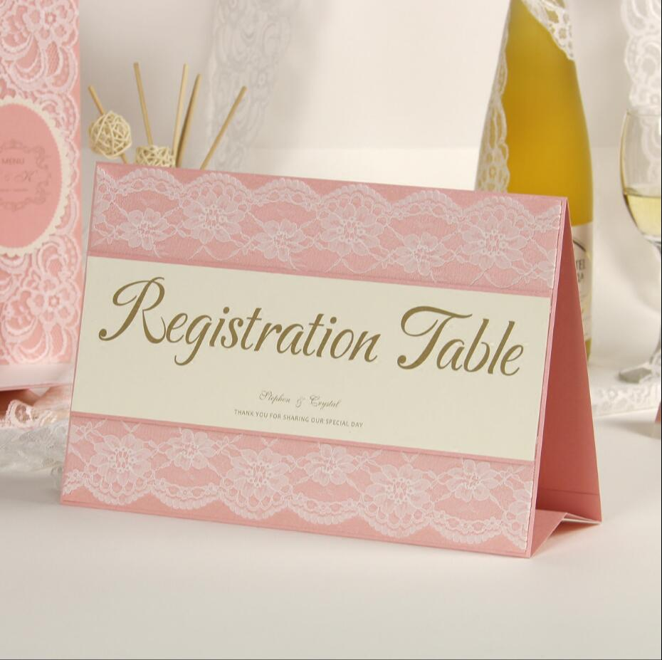 Pink Lace Wedding Invitations Table Registration Card Custom ...
