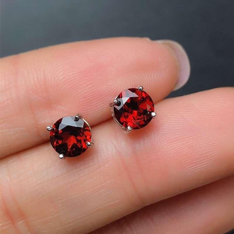 925 Sterling Silver Jewelry For Women Wedding Earrings Garnet Fashion Bridal Earring