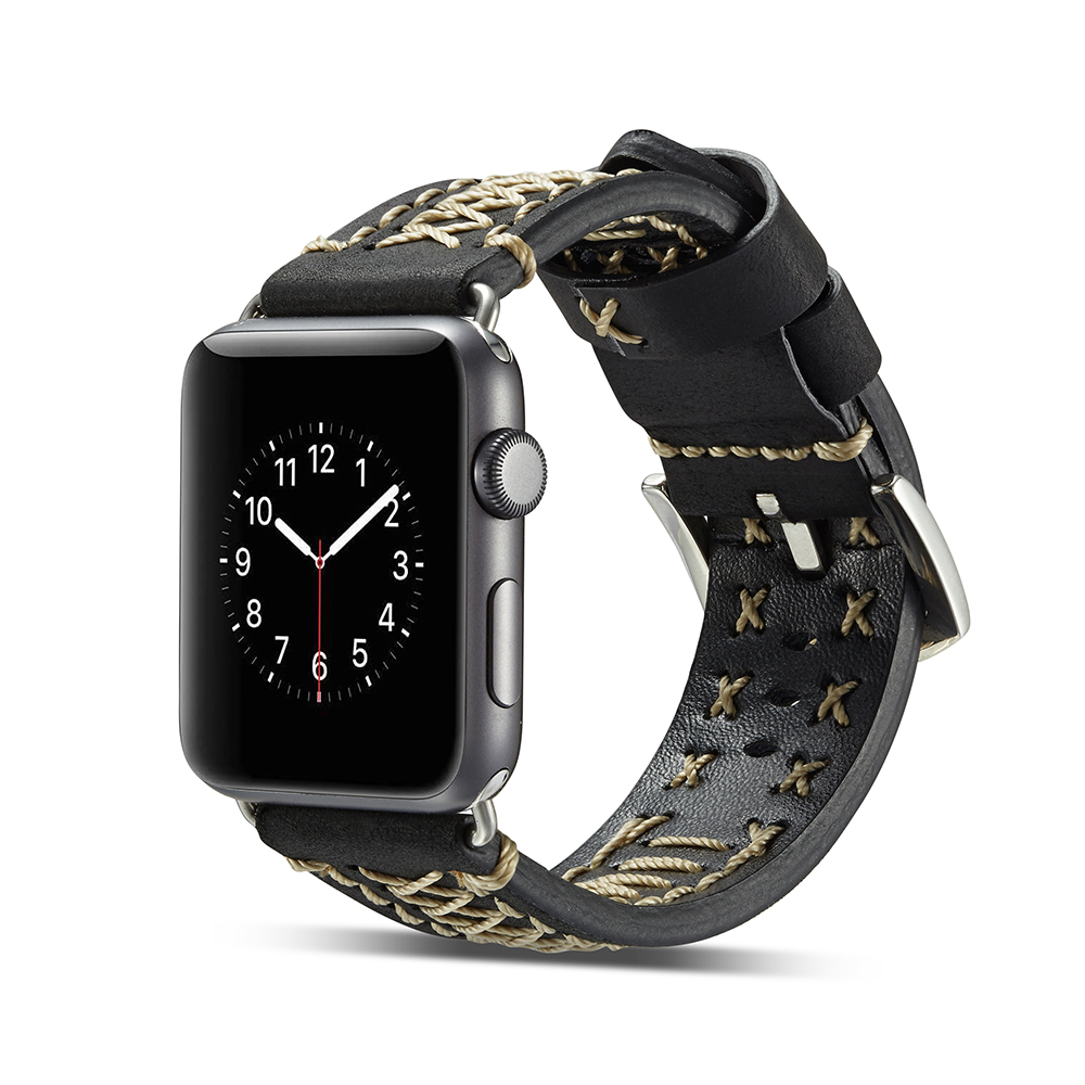 38mm 42mm Wrist Strap For Apple Watch Genuine Leather Band Handmade Line Sewing Decoration For Apple Watch Series 1 2 3 iWatch luxury ladies watch strap for apple watch series 1 2 3 wrist band hand made by crystal bracelet for apple watch series iwatch
