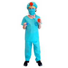 Umorden Childrens Day Carnival Party Halloween Surgeon Doctor Costumes Boys Kids Child Occupation Cosplay Costume Suit Blue