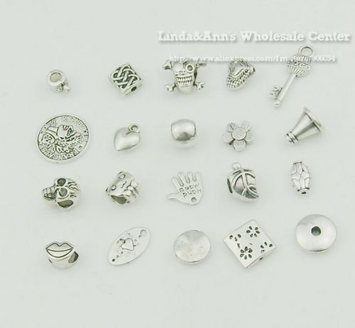 500pcs/lot Jewelry Alloy Charms Mixed Design Silver Tone Metal Charms Pendant Beads Nickel Free Wholesale Free Shipping MC021