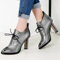 2017 altos talones del estilo de Europa Femenino de Plata, negro de Cuero Genuino con cordones cabeza puntiaguda sexy Brand Design Women Shoes bombas obuv