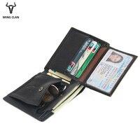 Mingclan Luxury Brand Genuine Leather Men Wallets Card Holder Coin Pocket Purse Male Slim Wallet Portfolio Cartera Money Bag
