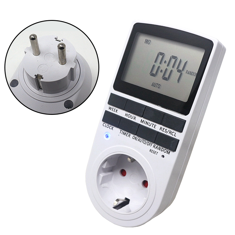 EU Plug-in Programmable Timer Switch Socket with Random Function 230V 50Hz Kitchen Timer Socket Timing SwitchEU Plug-in Programmable Timer Switch Socket with Random Function 230V 50Hz Kitchen Timer Socket Timing Switch