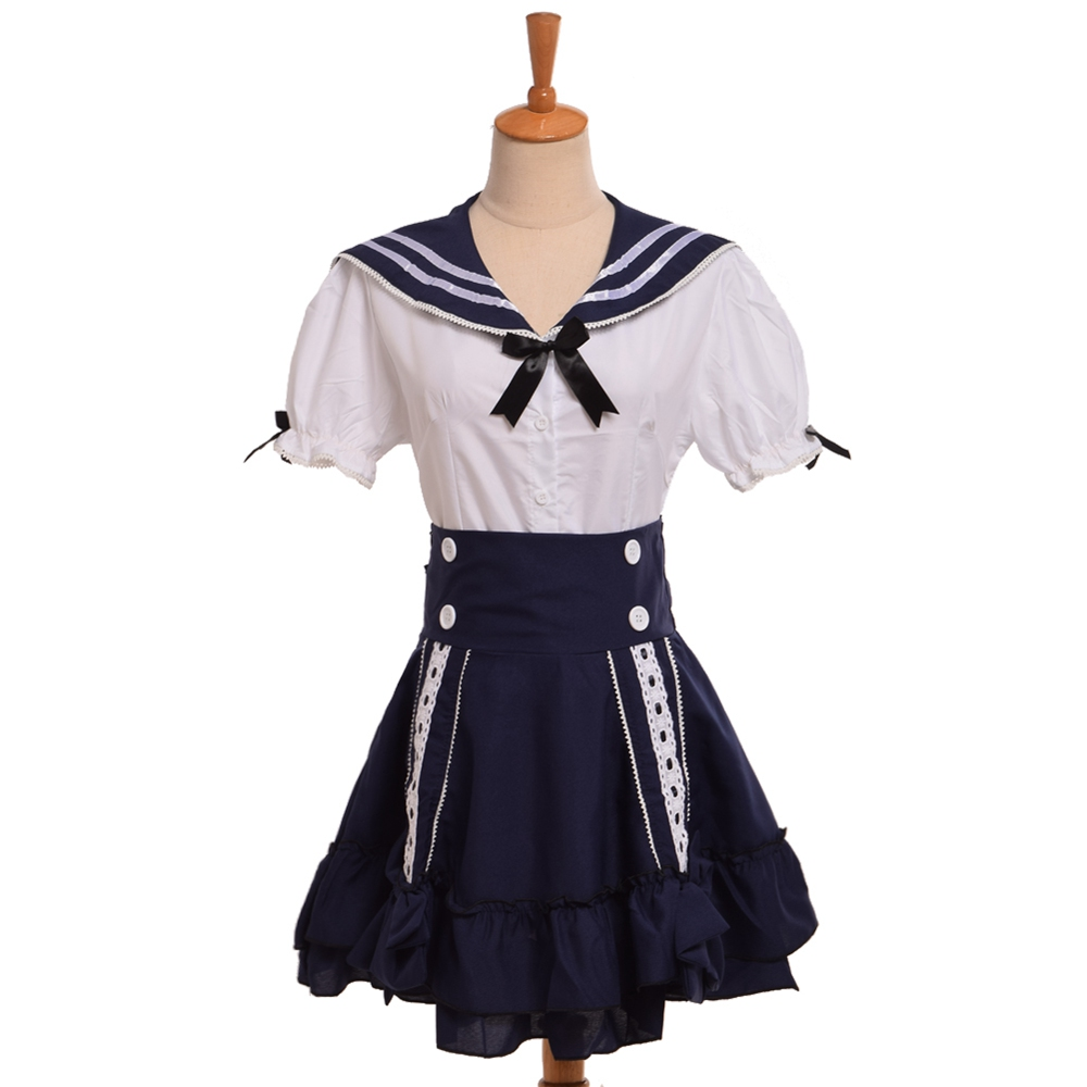 Japan Anime Kawaii Lolita Navy Sailor Outfit Uniform Dress School Girls Cosplay Costume