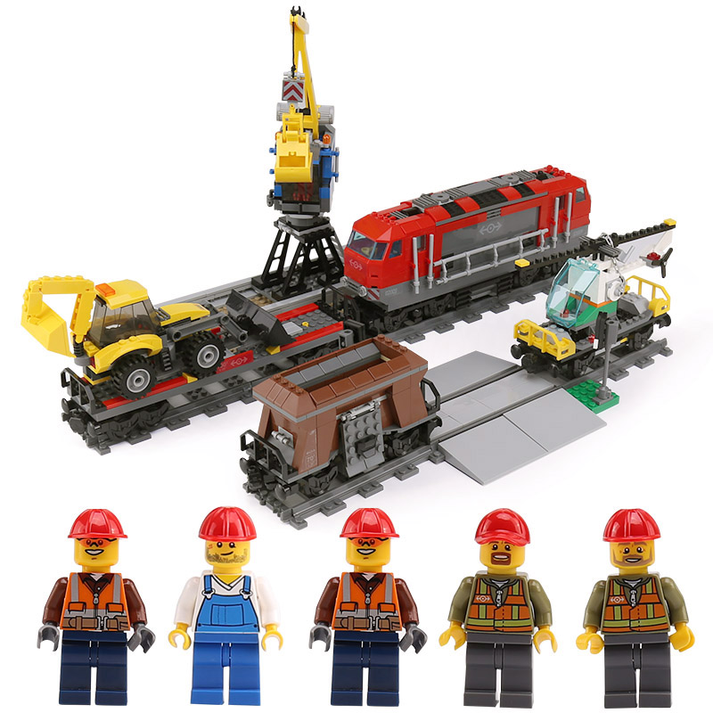 Lepin 02009 Compatible With lego 60098 City Series Engineering Remote Control RC Train Model RC Heavy-haul Train Set Kid's Gifts lepin 02009 city engineering remote control rc train model