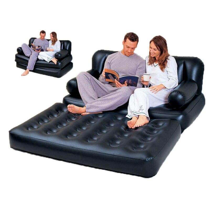 Multifonctionnel Gonflable Canapé En Cuir Canapé-Lit Pliant Outddor Mobilier De Jardin Canapé Chambre Portable Doux Lit pour 2 Personne