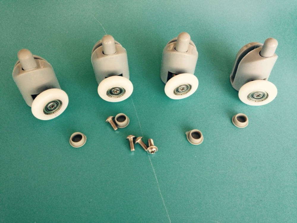 Set Of 4  Bottom Single SHOWER Door ROLLERS / Runners / Pulleys 25mm Wheels