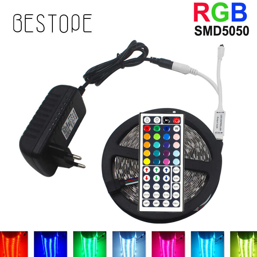 10 M RGB LED Strip 5 M 5050 SMD Lampu LED Pita Pita Fleksibel Tahan Air IR Remote Controller DC 12 V Power Adaptor Set