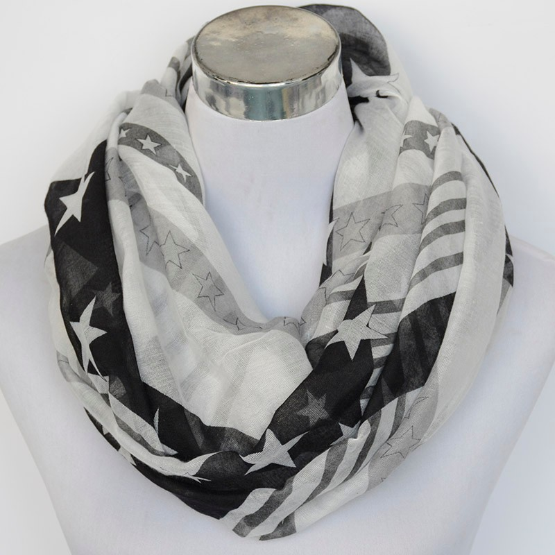 Lady White Star Striped Scarf | Infinity Scarves | Up to 60% Off Now